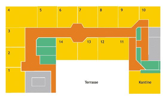 Plantegning over 2.sal i kontorhotellet i Esbjerg på Torvet 21