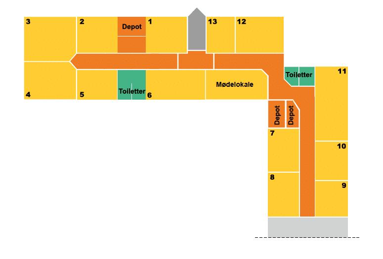 Plantegning over kontorer i Voxeværket Taastrup