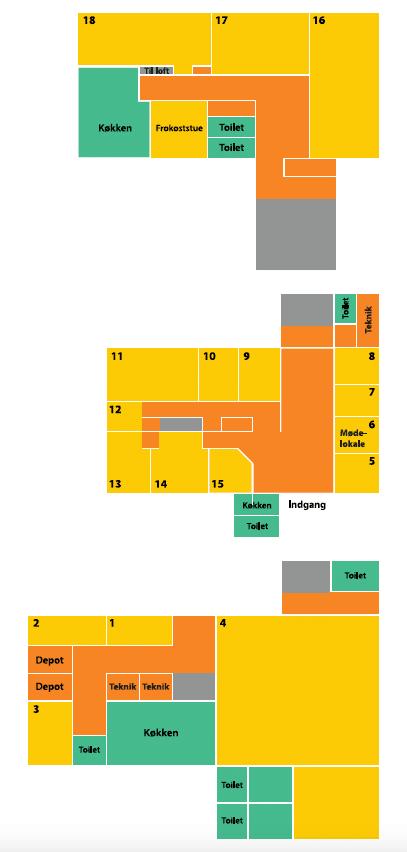 Du får et overblik over ledige kontorer på plantegninigen her over Voxeværket Aabenraa